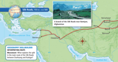Can you identify the early Silk Road, 150 BC-500 AD on the map, look at the image?