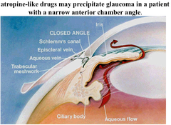 Why can't atropine be given to patients with narrow-angle glaucoma?